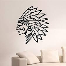 Amazon Com Smydp Tribal Man Vinyl Wall Stickers Living Room Decoration Self Adhesive Removable Wall Decal Bedroom Indian Features 56x64cm Baby