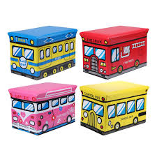 School Bus Collapsible Toy Storage Organizer Toy Box Folding Storage Ottoman For Kids Bedroom Perfect Size Toy Chest For Books Storage Boxes Bins Aliexpress