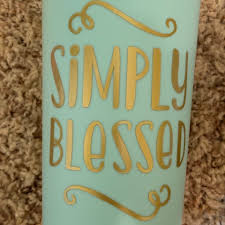Gold Simply Blessed Vinyl Decal On Light Blue Cup Depop
