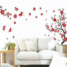 Plum Blossom Flowers Butterflies Wall Sticker Adhesive Sticker Home Decoration For Sale Online