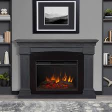 deland grand electric fireplace in gray