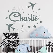 Personalized Boy Name Wall Decal Airplane Boys Name Decals Etsy