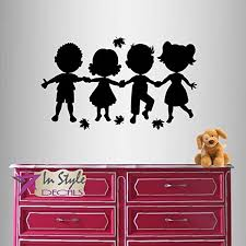 Amazon Com Wall Vinyl Decal Home Decor Art Sticker Cute Little Kids Holding Hands Nursery Bedroom Play Room Removable Stylish Mural Unique Design Home Improvement