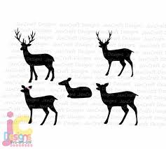 Deer Family Svg Doe Buck Baby Deer Mom Dad Son Daughter Auto Window Decal Design Svg Png Dxf Eps Cricut Silhouette Sublimation Cut Files