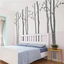 Amazon Com N Sunforest 7 8ft Dark Grey And Light Grey Birch Tree Vinyl Wall Decals Nursery Forest Family Tree Wall Stickers Art Decor Murals Set Of 8 Home Kitchen