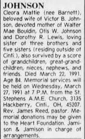 Obituary for Cleora Mattie JOHNSON (Aged 84) - Newspapers.com