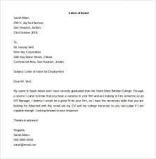 job application letter of intent sle
