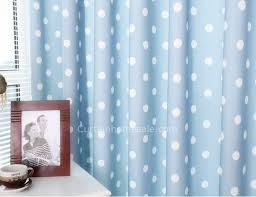 Blue And White Polyester And Cotton Blended Bedroom Polka Dot Curtains Kids