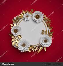 3d render paper flowers round frame