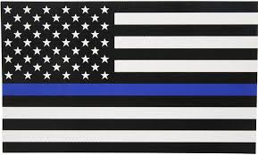 Amazon Com Thin Blue Line Flag Decal 3x5 In Black White And Blue American Flag Sticker For Cars And Trucks In Support Of Police And Law Enforcement Officers 1 Automotive