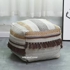 Amazon Com Square Unstuffed Pouf Cover Boho Pouf Ottoman Foot Rest Cotton Woven Pouf For Living Room Bedroom Kids Room 16 X16 X12 Without Filler Furniture Decor