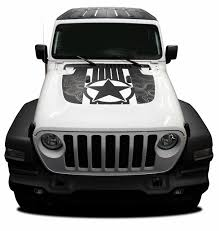 Journey Jeep Gladiator Hood Decals With Star Vinyl Graphics Stripe Kit For 2020 2021 Models Moproauto Professional Vinyl Graphics And Striping
