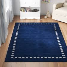 Three Posts Baby Kids Polka Dots Handmade Tufted Wool Navy Area Rug Reviews Wayfair