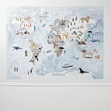 Watercolor World Map Mural Decal