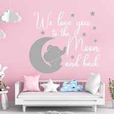 Elephant Wall Decal Baby Room Decor We Love You To The Moon Etsy