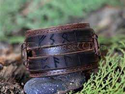 custom viking leather bracelet brown