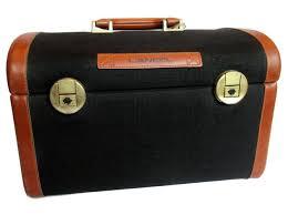 lancel vanity case travel bag leather