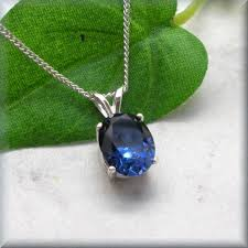 oval blue sapphire necklace birthday