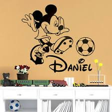 Mickey Mouse Football Personalized Nursery Vinyl Wall Decal Bedroom Sticker Name Ebay