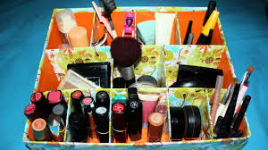 easy cardboard makeup organizer diy