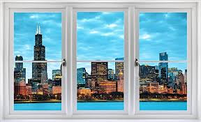 Amazon Com 24 Window Landscape Scene Instant City View Chicago Illinois Skyline Dusk 1 White Closed Wall Sticker Room Decal Home Office Art Decor Den Mural Man Cave Graphic Small Home Kitchen