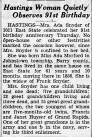 Ada Snyder 91st Birthday - Newspapers.com
