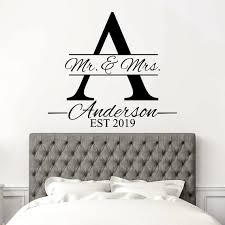 Mr Mrs Wall Decal Family Name Decal Bedroom Wall Decal Etsy