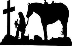 Cowgirl Kneeling At Cross With Horse Left Or Right Vinyl Decal Sticker 3260 Ebay
