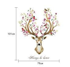 Always Be Brave Floral Antlered Deer Head Wall Art Mural Nordic Style Home Interior Decoration In 2020 Deer Head Wall Art Mural Wall Art Removable Vinyl Wall Decals