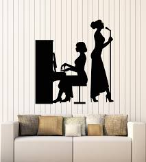 Vinyl Wall Decal Music Concert Scene Piano Singer Silhouette Girls Sti Wallstickers4you