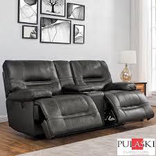 pulaski tessa 2 seater grey leather
