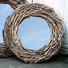 round driftwood mirror lattice