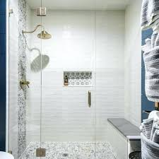 gray shower tile large glass enclosed