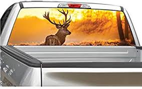 Amazon Com Buck Deer Elk Sunset 2 Rear Window Graphic Decal Sticker For Truck Suv 4 Sizes 20 X 66 Automotive