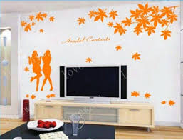 Maple Leaf Fall Falling Girl Girls Asadal Contents Vinyl Wall Decal Sticker Living Room Bed Room Sti On Luulla