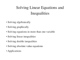 ppt solving linear equations and