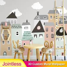 Jointless Custom Mural Wallpaper For Kids Room Hand Painted Small House Children Room Bedroom Decorative Wallpaper Tv Background Wallpapers Aliexpress