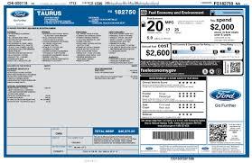 Window Sticker For 2015 Ford Taurus 4dr Sdn Sho Awd