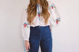 vine hand embroidered blouse 70 s