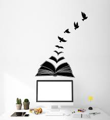 Vinyl Wall Decal Reading Room Literature Birds Open Book Library Stick Wallstickers4you