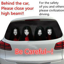 1pcs Horror Rear Window Decal Sticker To Discourage High Beam Users For Sale Online Ebay