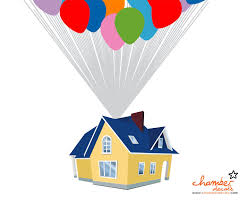 Chamber Decals Colorful Balloon Floating House Over Paris City Wall Decal