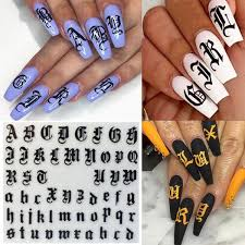 1 Sheet Alphabet Letters White Black Gold Acrylic Nails Tool Funny Nail Art 3d Decal Stickers Wish