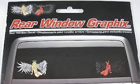 Angel Devil Girls Rear Window Vinyl Decal Truck Auto Car Sticker Halo Horns D142
