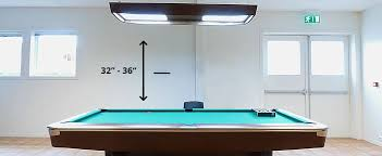 distance of lights from the pool table