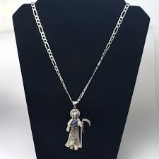 santa muerte fine 925 silver charm necklace