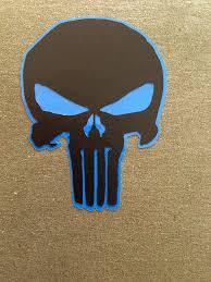Pre Made 2in Matte Black On Glossy Blue Punisher Skull Vinyl Decal