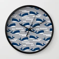 Whales Nautical Ocean Theme Grey Kids Room Nursery Boys Or Girls Decor Wall Clock By Charlottewinter Society6