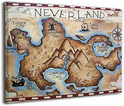 Amazon Com Map Of Neverland Canvas Print Wall Art Picture Painting For Living Room Bedroom Modern Home Decor Ready To Hang Stretched And Framed Artwork 16 X20 Kitchen Dining