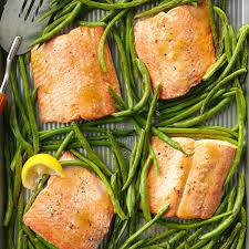 Tangy Salmon with Green Beans Recipe ...